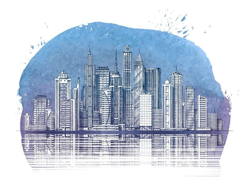 nowoczesne miasto Budynki i drapacz chmur Miastowy krajobrazowy sztandar royalty ilustracja