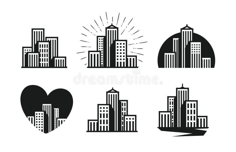nowoczesne miasto logo Drapacz chmur, budynek, dom, grodzki ustawiający ikony również zwrócić corel ilustracji wektora royalty ilustracja