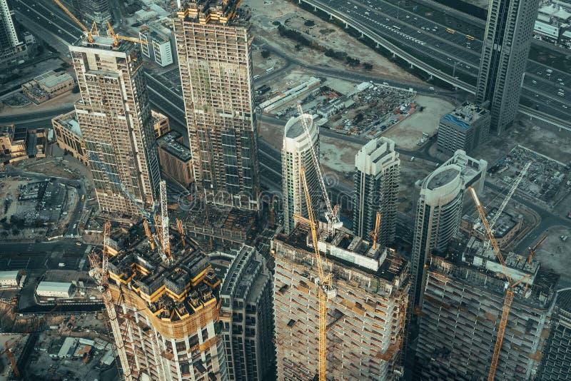 Nowoczesne prace budowlane w Dubaju Koncepcja szybkiego rozwoju i postępu obraz stock