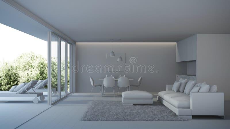 nowoczesne wewnętrznego w domu Wnętrze willa z basenem ilustracji