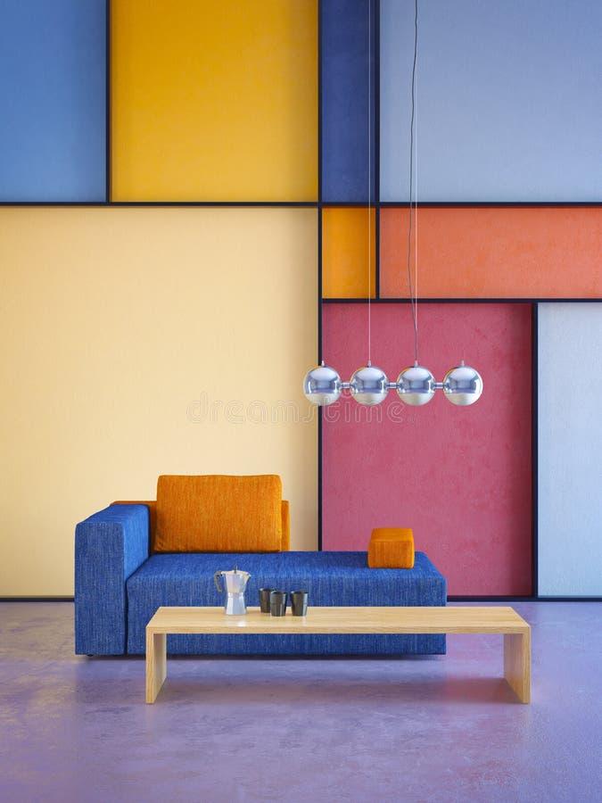 Nowoczesne wnętrze pokoju w stylu pop-art ilustracja wektor