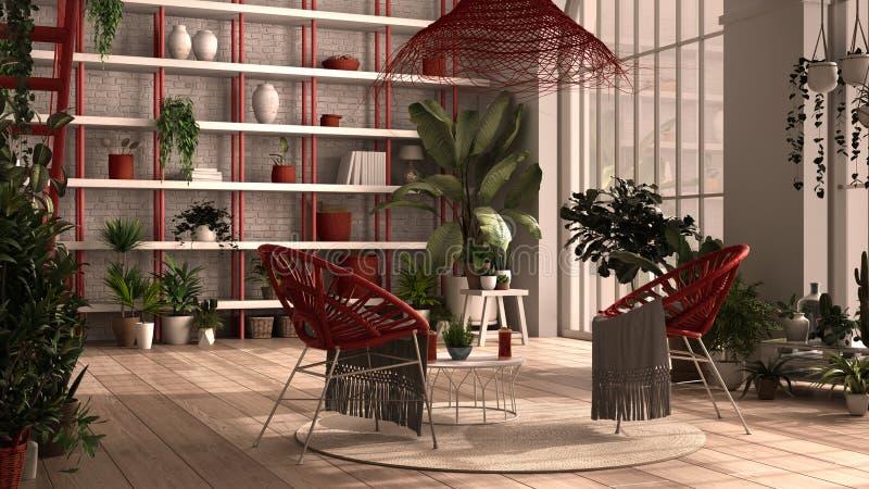 Nowoczesny konserwatysta, ogród zimowy, białe i czerwone wnętrze, salon z fotelem rattan, stół Mezzanine ilustracja wektor