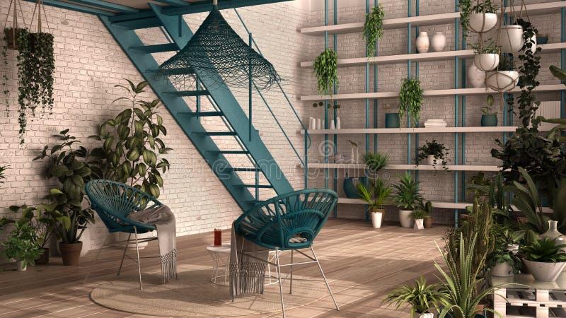 Nowoczesny konserwatysta, ogród zimowy, białe i niebieskie wnętrze, salon z fotelem rattan, stół Mezzanine ilustracji