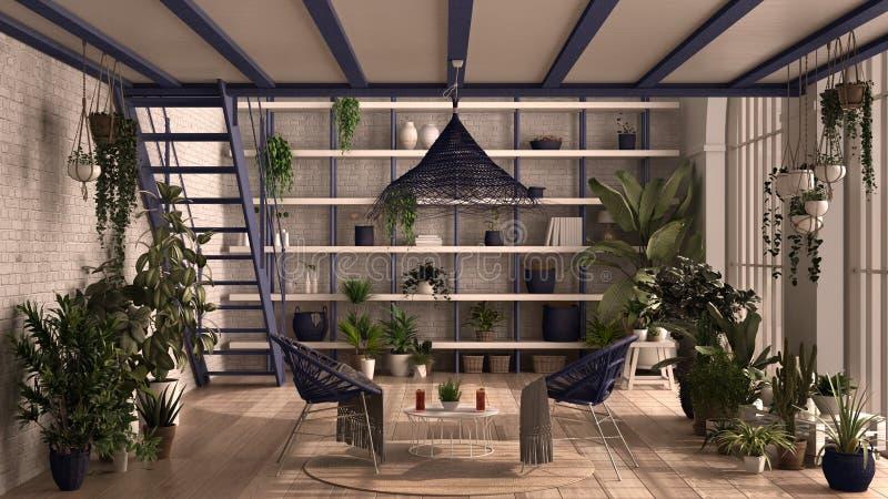 Nowoczesny konserwatysta, ogród zimowy, białe i purpurowe wnętrze, salon, fotel rattan, stół Schody mezzanine i żelazne ilustracji