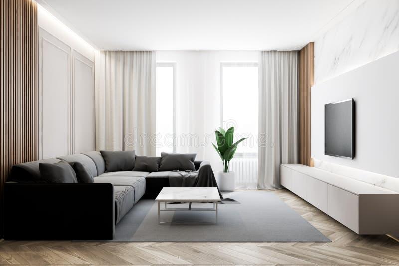Nowoczesny salon z telewizorem i sofą ilustracji