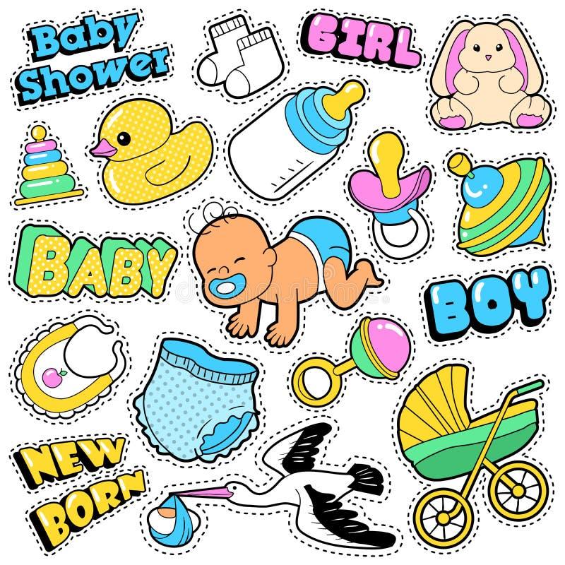 Nowonarodzeni dziecko majchery, łaty, odznaki Scrapbook dziecka prysznic dekoracja Ustawiająca z bocianem i zabawki, royalty ilustracja