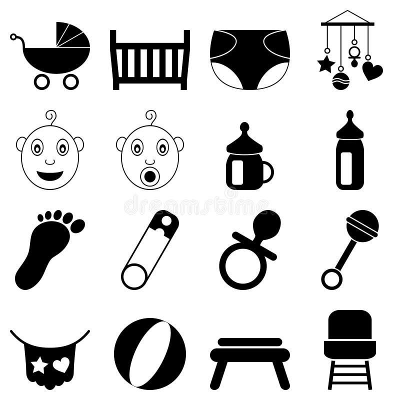 Nowonarodzone Czarny I Biały Ikony royalty ilustracja