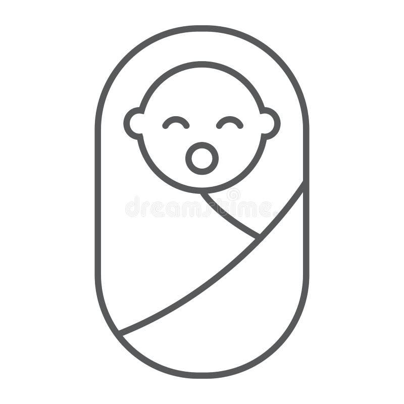 Nowonarodzonego dziecka cienka kreskowa ikona, dziecko i nowonarodzony, berbecia znak, wektorowe grafika, liniowy wzór na białym  royalty ilustracja