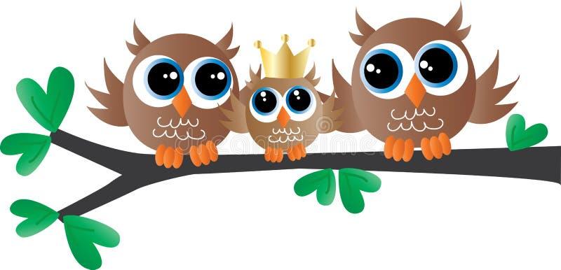 Nowonarodzonego dziecka zawiadomienia sowy śliczna rodzina ilustracja wektor
