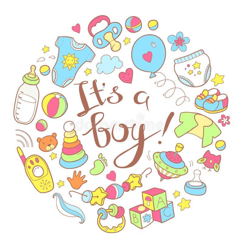 Nowonarodzonego niemowlaka o temacie ślicznego doodle round ilustracja Ja jest bo ilustracja wektor