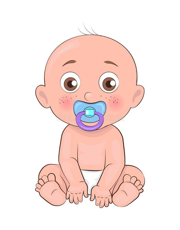 Nowonarodzony chłopiec berbecia pacyfikator w usta i pieluszkach ilustracja wektor