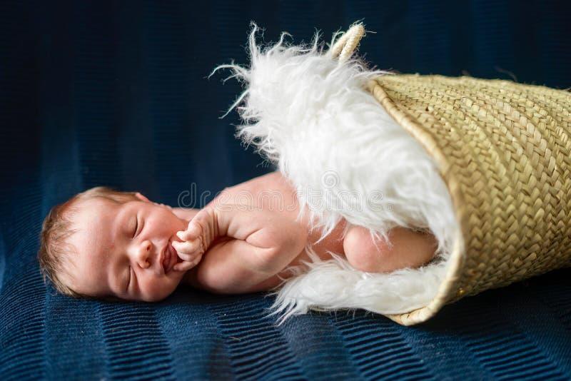 Nowonarodzony chłopiec dosypianie w koszu obrazy stock