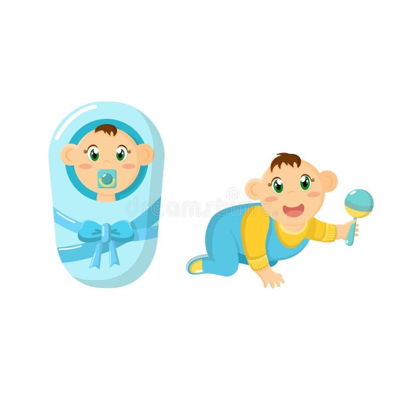 Nowonarodzony dziecko, dzieci, w pieluszce z pacyfikatorem, czołgać się z brzękiem ilustracji