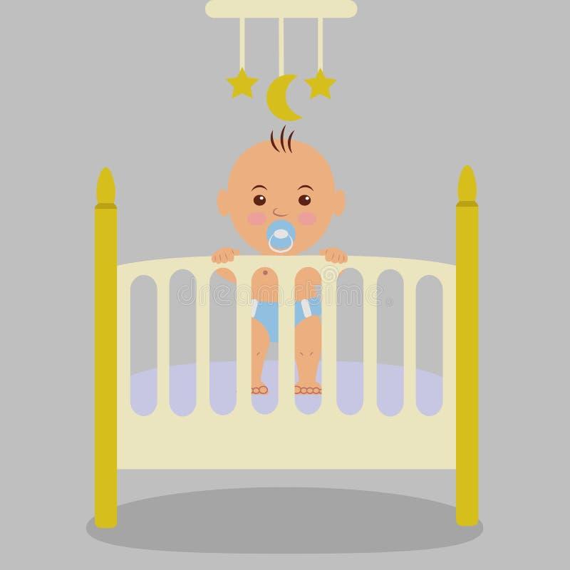 Nowonarodzony dziecko jest w ściąga, trzyma ręki na łóżku polowym ilustracja wektor
