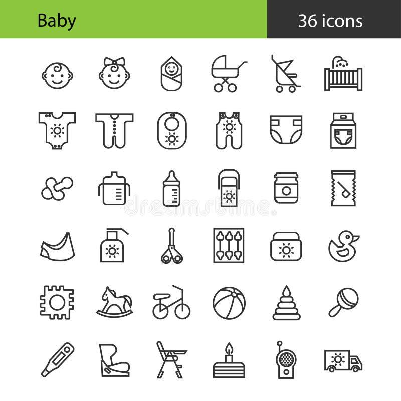 Nowonarodzony ustawić symbole dziecka 36 płaskich ikon ilustracji