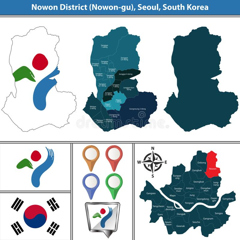 Nowondistrict, de Stad van Seoel, Zuid-Korea royalty-vrije illustratie