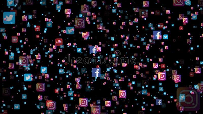 Nowosibirsk, Russland - 8. Juli 2018 - viele Ikonen des populärsten Social Media in der Welt auf schwarzem Hintergrund lizenzfreie abbildung