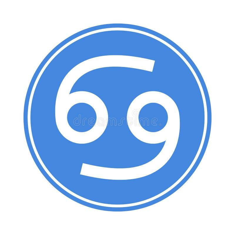Nowotwór ikona Wektorowy Astrologiczny, horoskopu znak Zodiaka symbol Wodny element majcher Wektorowa ilustracja odizolowywająca  royalty ilustracja