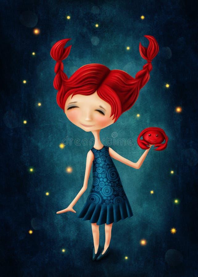 Nowotwór astrologiczna szyldowa dziewczyna ilustracja wektor