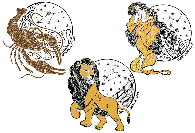 Nowotwór, Leo, Virgo i zodiak sign.Horoscope.Sta, ilustracji