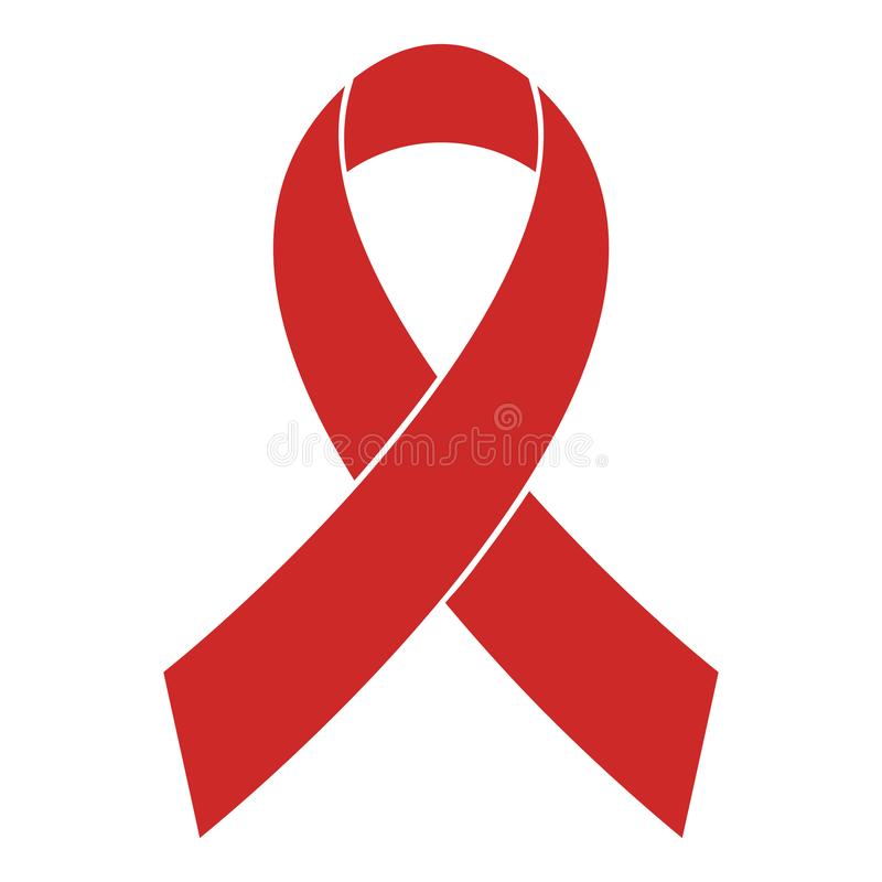 Nowotwór piersi świadomości ikony czerwony tasiemkowy wektor prosty zdjęcie stock