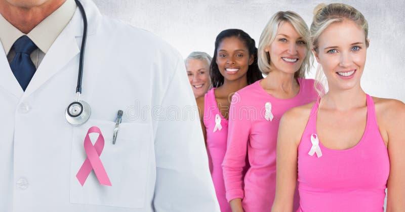 Nowotwór piersi kobiety z różowym świadomość faborkiem i lekarka ilustracja wektor