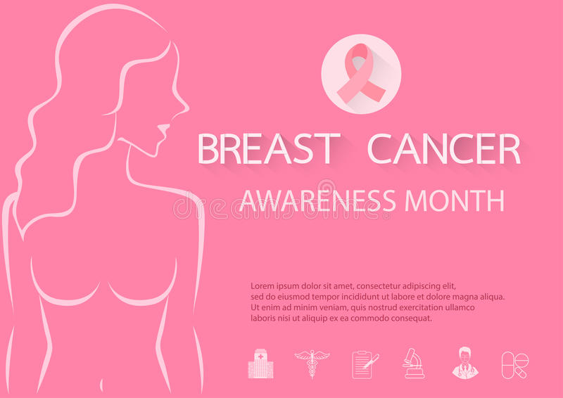 nowotwór piersi lekarstwa walki znaleziska funduszu pocztowy znaczek royalty ilustracja