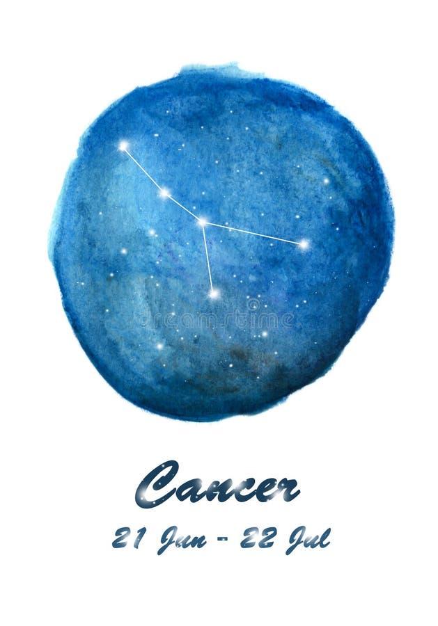 Nowotworu gwiazdozbioru ikona zodiaka znaka nowotwór w pozaziemskiej gwiazdy przestrzeni Błękitny gwiaździsty nocnego nieba insid royalty ilustracja