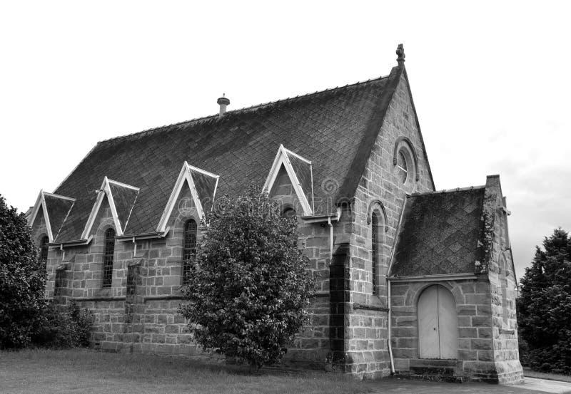 Nowra church. Landmark stone church in Nowra, New South Wales Australia black and white stock photo