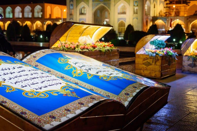 Nowruz dekoracje na Naghsh-e Jahan Obciosują przy nocą isfahan Iran fotografia stock