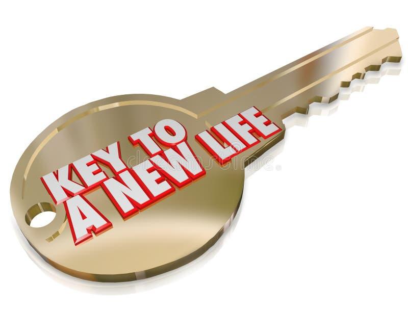 Nowy życia złota klucz Zaczyna Świeżego wznowienia ulepszenie ilustracja wektor