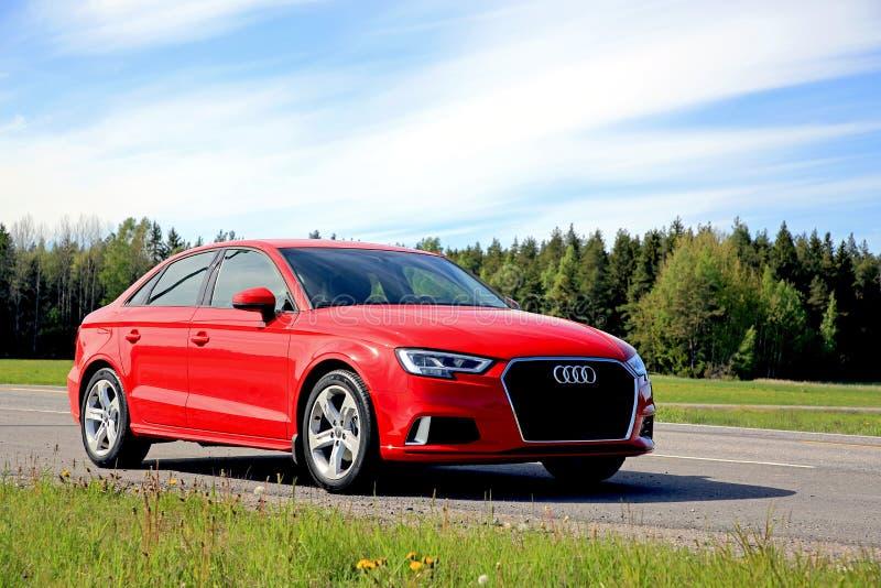 Nowy Audi A3 sedan przy latem obraz stock
