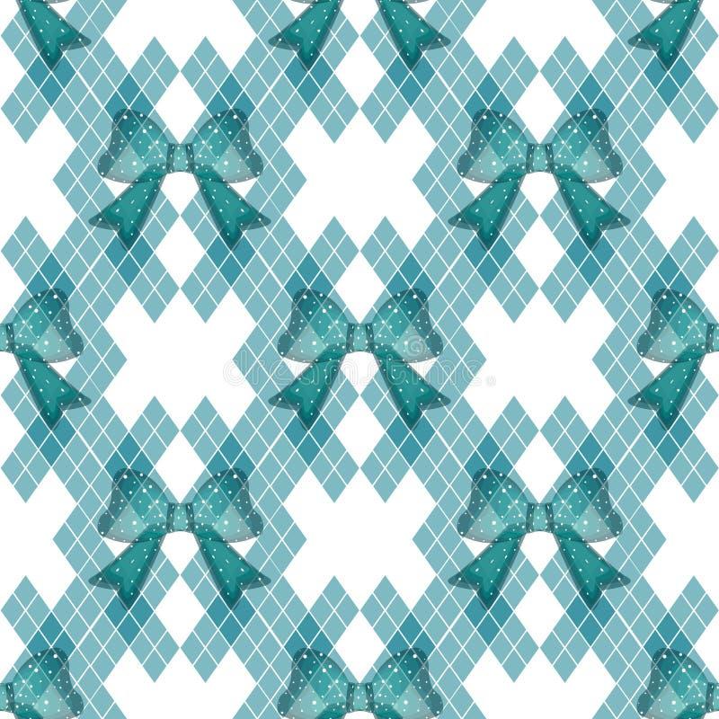 Nowy Błękitnej zieleni tartan z krawatem kłania się rocznika tła wektoru ilustrację ilustracji