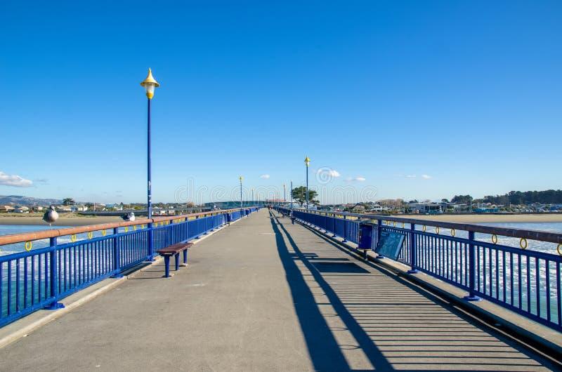 Nowy Brighton molo w Christchurch, Nowa Zelandia zdjęcie stock