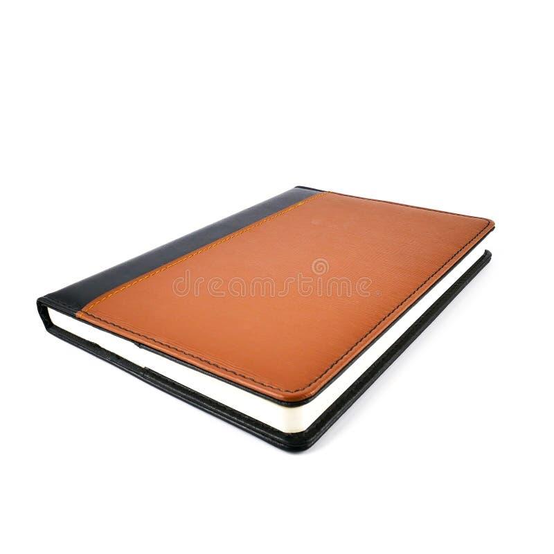 Nowy brown rzemienny notatnika dzienniczek odizolowywający na białym tle fotografia royalty free