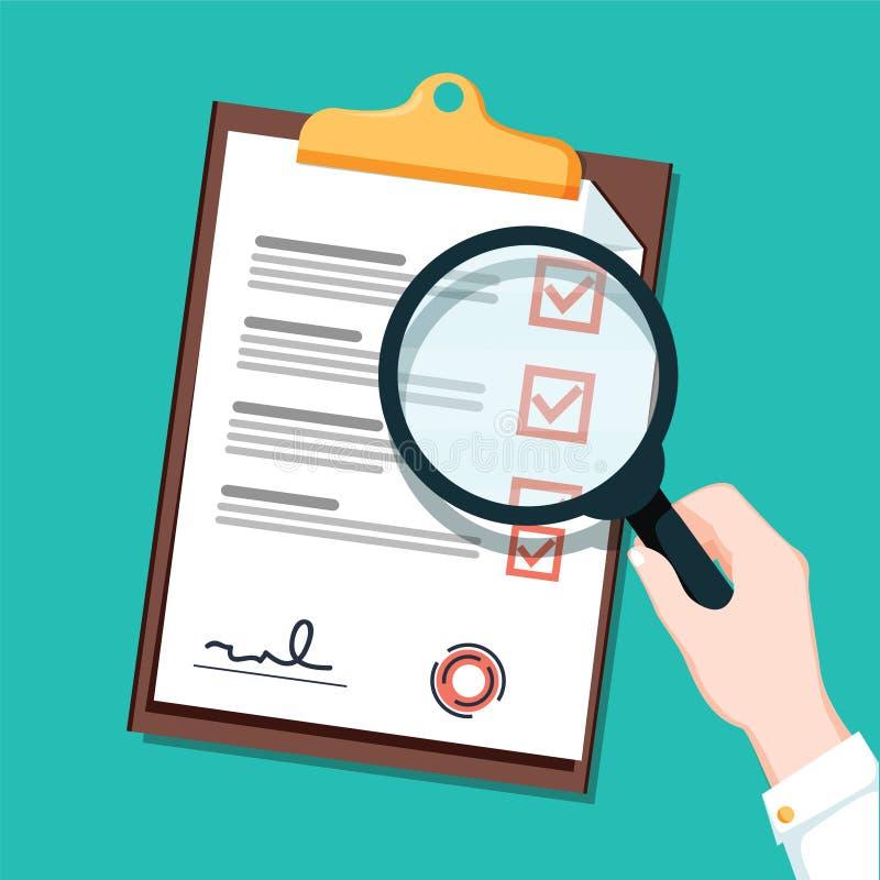 Nowy busienss kontrakt i magnifier listy kontrolnej mieszkania ikona Dokument z zielenią cyka checkmarks listy kontrolnej zakończ ilustracja wektor