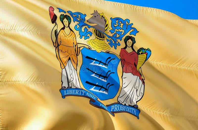 Nowy - bydło flaga 3D falowania usa stanu flagi projekt Obywatel USA symbol Nowy - dżersejowy stan, 3D rendering Obywatelów kolor ilustracji