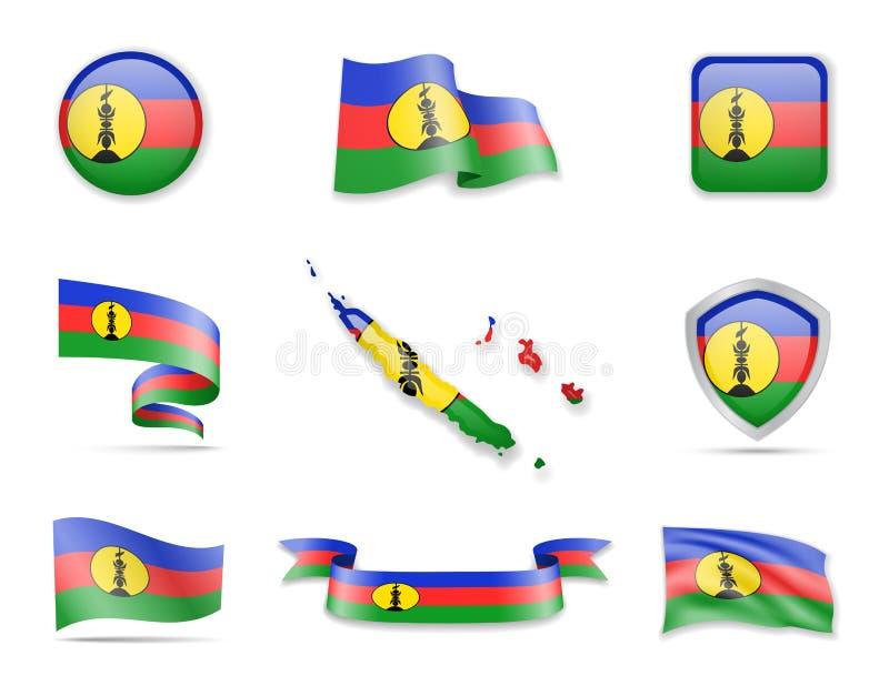 Nowy Caledonia zaznacza kolekcję Wektorowe ilustracyjne set flagi i kontur kraj ilustracja wektor