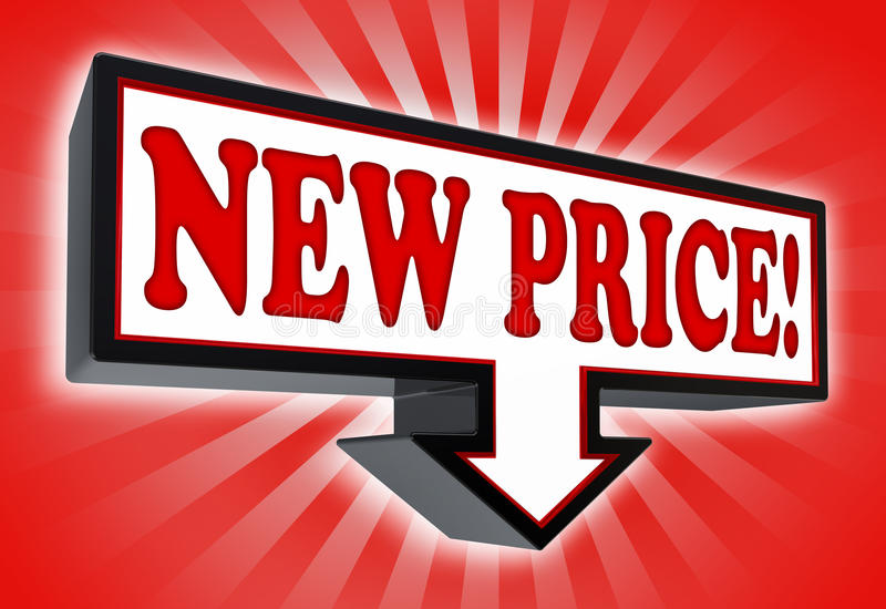 Nowy cena znak z strzała ilustracja wektor