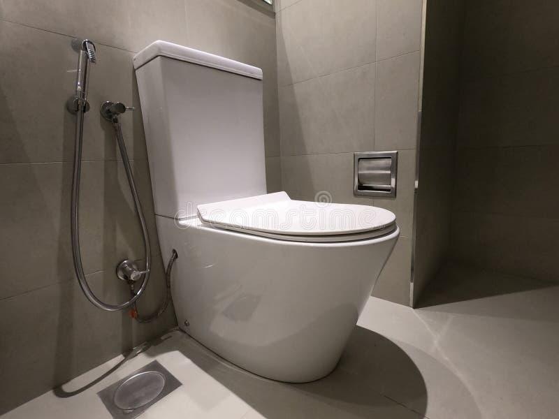 Nowy ceramiczny toaletowego pucharu, faucet i papieru w?a?ciciel, Toaletowy puchar w nowo?ytnym ?azienki wn?trzu z popielatymi ?c fotografia royalty free