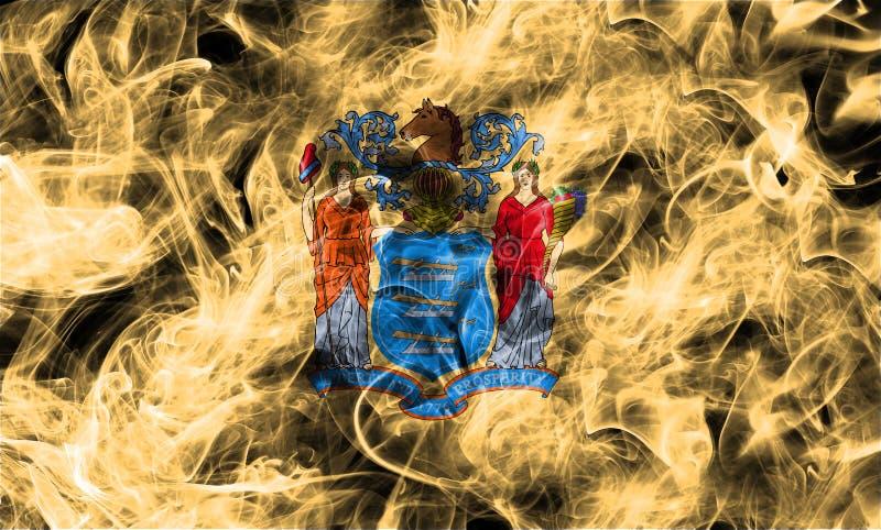 Nowy - dżersejowa stanu dymu flaga, Stany Zjednoczone Ameryka obrazy royalty free