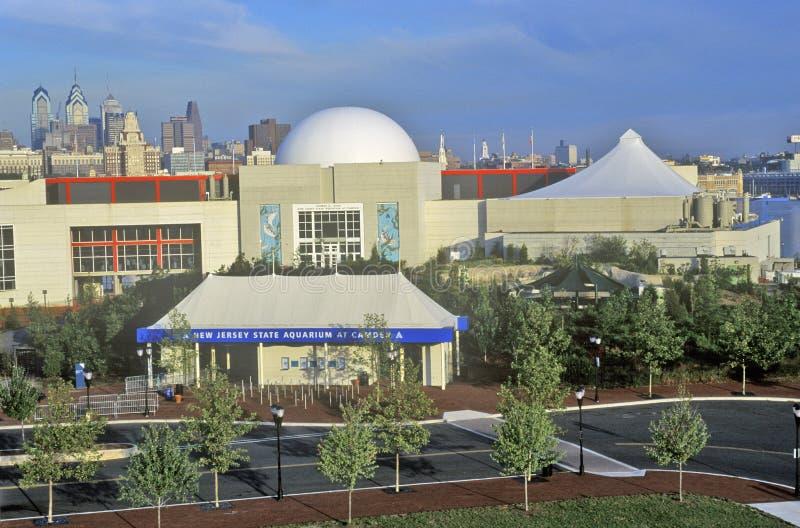 Nowy - dżersejowy stanu akwarium w Camden, NJ z Filadelfia linią horyzontu w tle obrazy stock