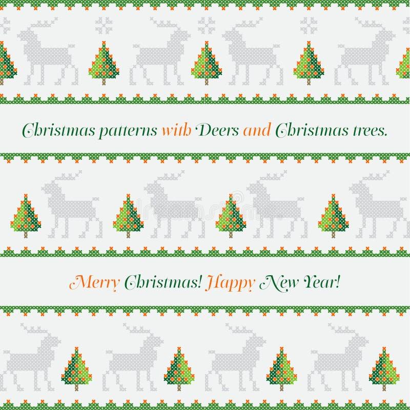 nowy deseniowy rok Choinki, deers i płatki śniegu, Wesoło boże narodzenia, Szczęśliwa nowy rok ilustracja ilustracja wektor