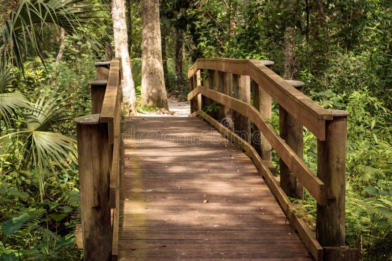 Nowy drewno mosta parka ślad obrazy stock