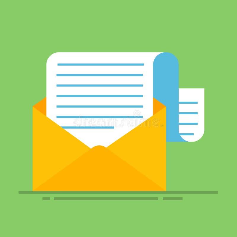 Nowy e-mail Płaska karton koperta z otwartą poczta ilustracji