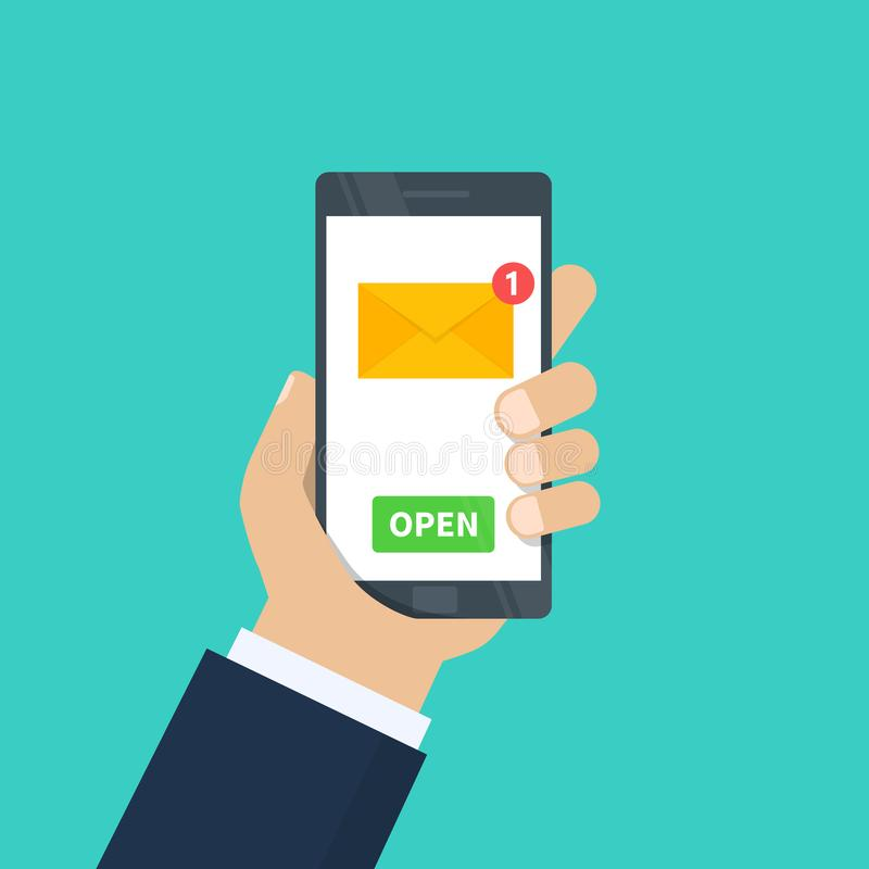 Nowy email Ludzka ręka trzyma smartphone z e-mailowym zastosowaniem Telefon komórkowy, ekran z nowym nieoczytanym emailem ilustracja wektor