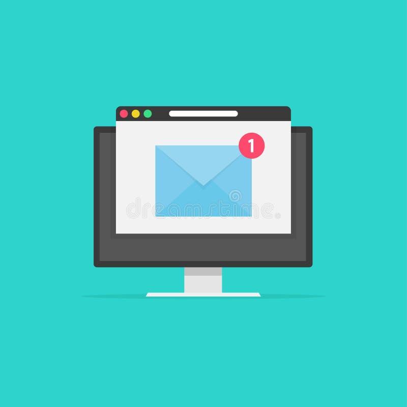 Nowy email na ekranie komputerowym, e-mailowej kopercie z powiadomieniem otrzymywającym i wyszukiwarce, pomysł gazetki wiadomość royalty ilustracja