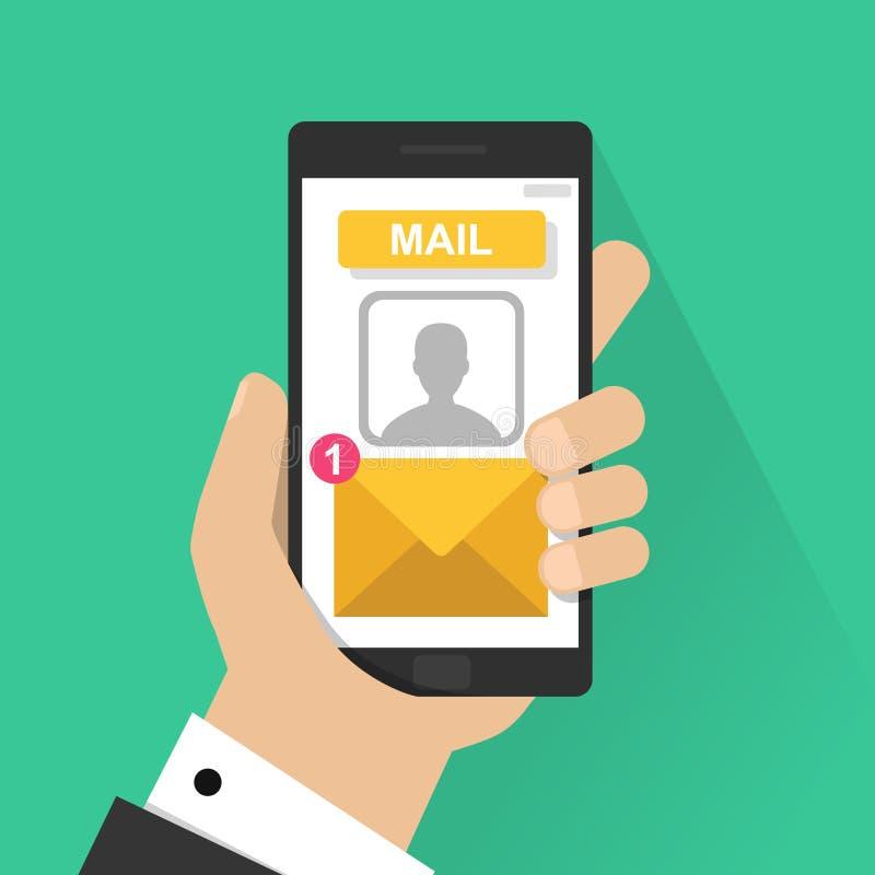 Nowy emaila powiadomienie na telefon komórkowy wektorowej ilustraci, smartphone ekran z nową nieoczytaną e-mailową wiadomością i  ilustracji
