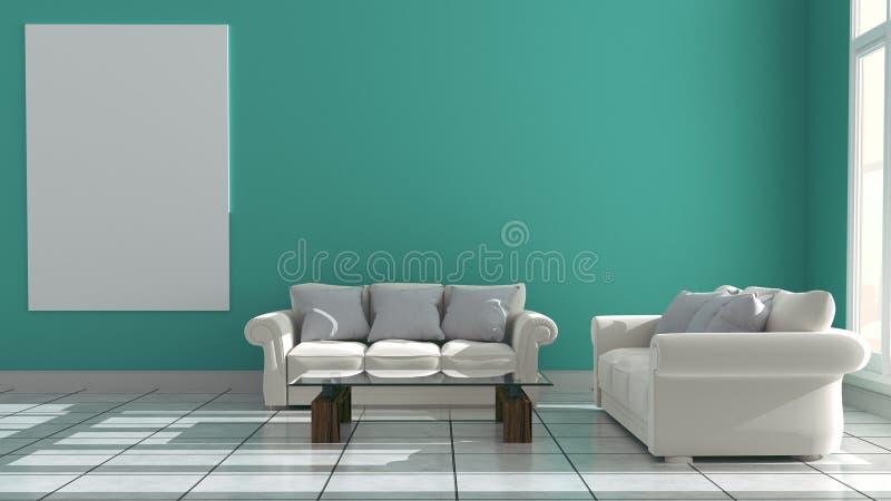 Nowy izbowy wnętrze - Nowożytny pokoju styl ?wiadczenia 3 d ilustracji