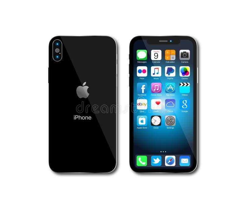 Nowy Jabłczany IPhone X royalty ilustracja